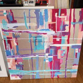 Obraz Abstrakcja na płótnie , akryl 120 x 120
