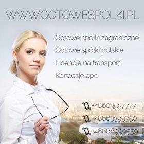 Gotowe spółka z o.o. z vat eu z licencją na transport międzynarodowy, spedycję. Wirtualne biuro 603557777